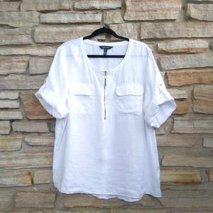 Ellen Tracy Linen 1/4 Zip Top Shirt White 1X